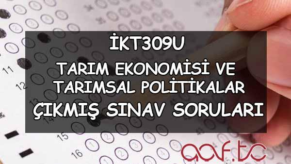 İKT309U Tarım Ekonomisi ve Tarımsal Politikalar Çıkmış Sınav Soruları