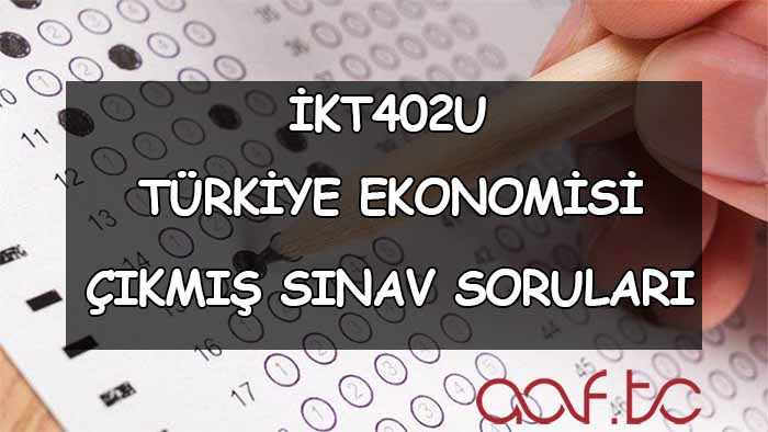 İKT402U Türkiye Ekonomisi Çıkmış Sınav Soruları