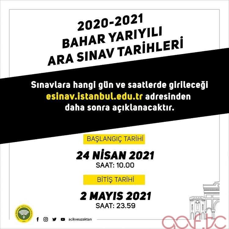 AUZEF 2021 Bahar Dönemi Arasınav Tarihleri